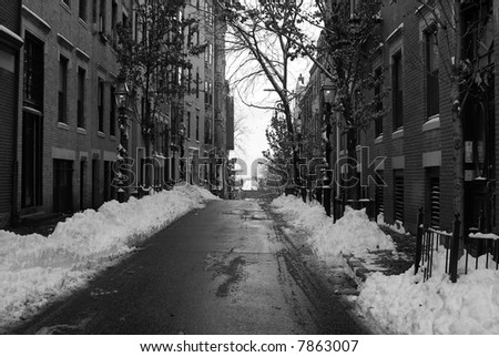 street on beacon hill after snow storm in black and white