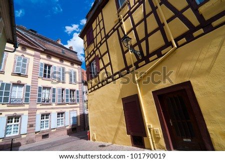 Street on Colmar old town, Alsace, France - stock photo