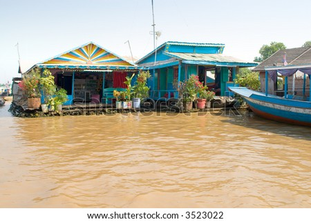 street on the Tonle Sap lake, Cambodia - stock photo