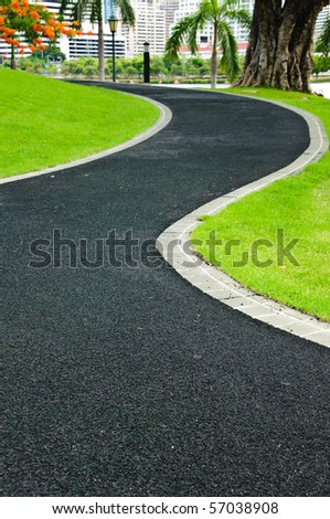 Street path in park - stock photo