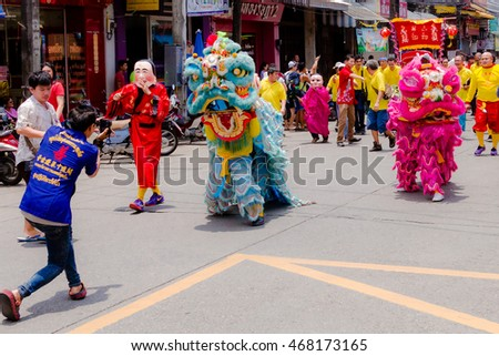 Street performance for Chinese Hungry Ghost festival (Por Tor) at old Phuket Town (Thailand, 2015)