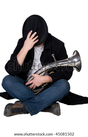 Street performer begging for money and covering his face with his hat (isolated on white) - stock photo