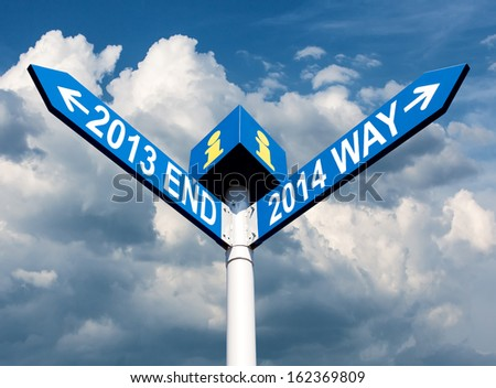 Street post with 2013 end and 2014 way signs - stock photo