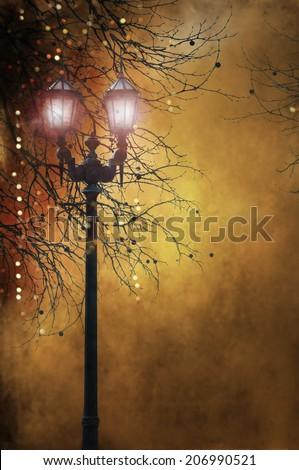 Street retro lighting - stock photo