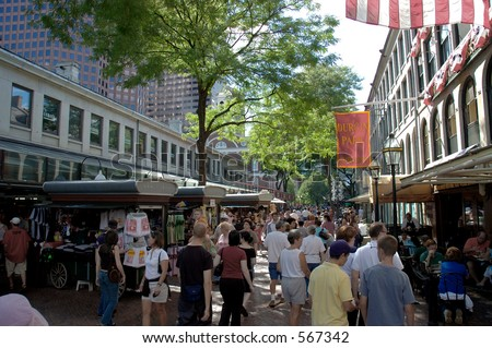 Street scene at Quincy Market  in Boston, Massachusetts with  people shopping and restaurants - stock photo