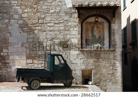Street scene from Todi, Umbria, Italy - stock photo