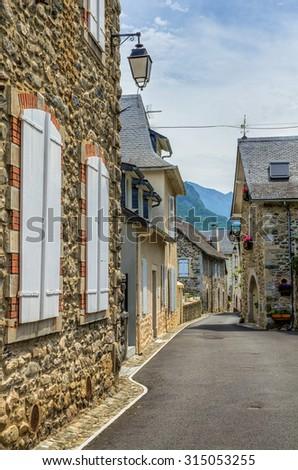 Street scene in Borce, France. - stock photo