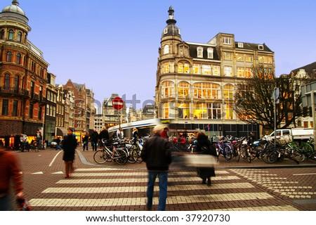street scene in central Amsterdam, The Netherlands - stock photo