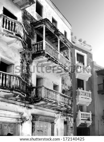 Street scene in the Old City of Cartegena, Colombia - stock photo