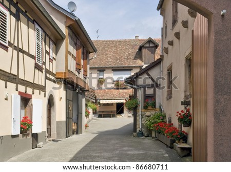 street scenery of Mittelbergheim, a village of a region in France named Alsace - stock photo