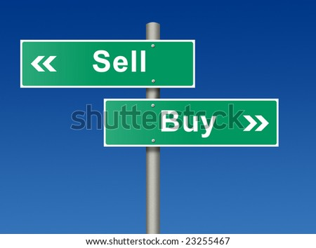 Street sign against blue sky. Sell. Buy. - stock photo