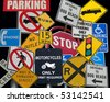 street sign collection collage - stock photo