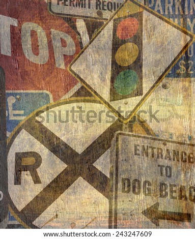 street sign collection on wood grain texture - stock photo