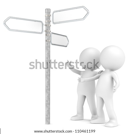 Street sign. 3D little human character X 2 at a 3-way Street Sign. Blank for Copy Space. People series. - stock photo