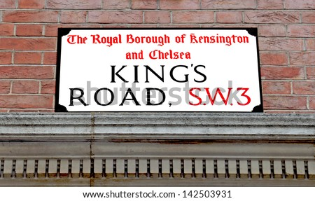 Street sign in  the Famous Kings Road, Chelsea London - stock photo