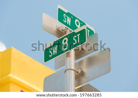 Street sign marking the 8th street in Little Havana, a focal point of the cuban community in Miami - stock photo
