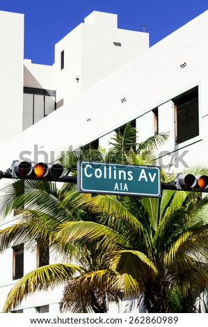 street sign of famous of Collins Avenue, Miami, Florida, USA - stock photo