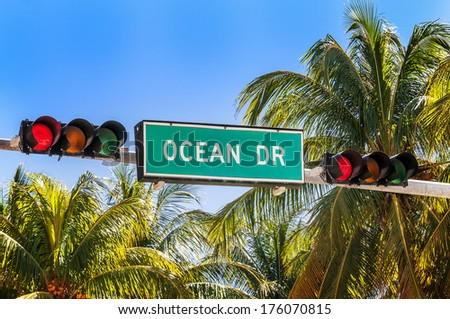street sign of famous street Ocean Drive - stock photo