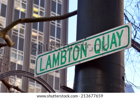 Street sign of Lambton Quay, the heart of the central business district of Wellington, the capital city of New Zealand.
