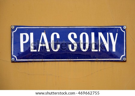 Street sign of Salt Market Square in the Old Town of Wroclaw in Poland - Plac Solny.