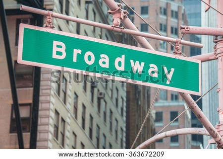 Street sign on Broadway on bright day - stock photo