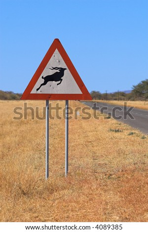 Street sign showing a gazelle symbol. The picture was taken in Namibia, Africa.