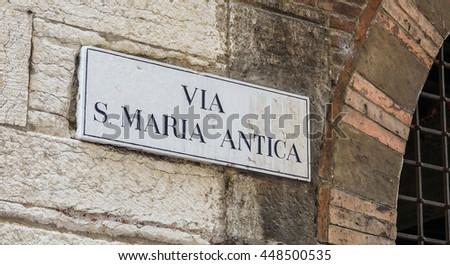 Street sign Via Santa Maria Antica in Verona Italy - stock photo