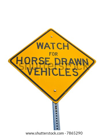 Street sign warning drivers of horse drawn vehicles - stock photo