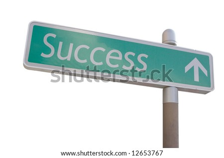 "Street sign with an arrow and the word ""Success"" - stock photo"