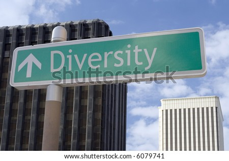 "Street sign with an arrow and the words ""diversity"" located in a business district - stock photo"