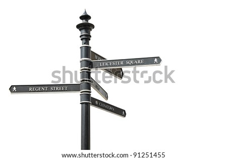 Street sign with directions to several famous London landmarks such as Leicester Square,Soho,Chinatown or Regent Street - stock photo