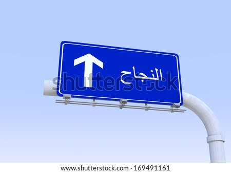 street sign with success word translated in arabic - stock photo