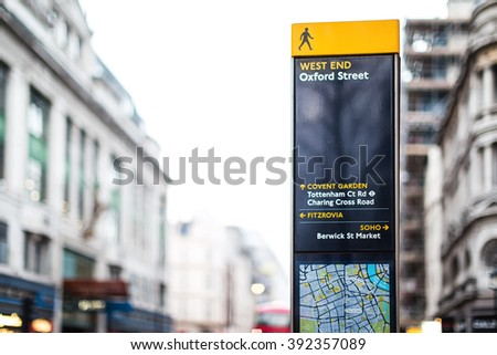Street Signpost Information Map Guide in London England - stock photo