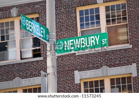 street signs corner of newbury and berkeley in boston mass - stock photo