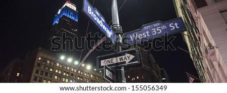 Street Signs in Manhattan New York City, U.S.A. - stock photo