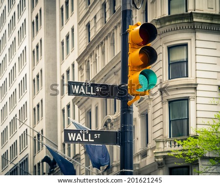Street signs of Wall street in New York City - stock photo
