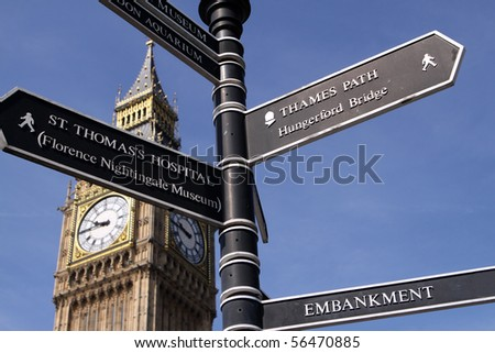Street signs with Big Ben. London