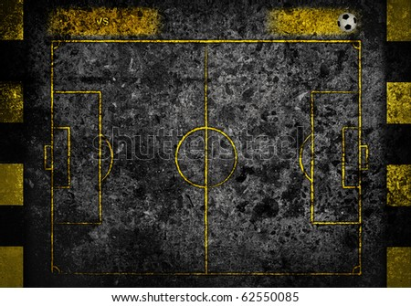 street soccer field with team name and score board in dark grunge style - stock photo