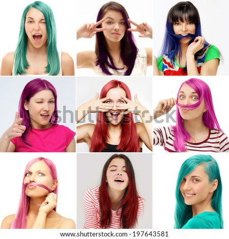 Street style-colored hair.Turquoise,Lilac,Pink,Blue - stock photo