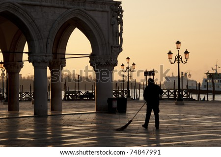 Street Sweeper in Piazza San Marco, Venice, Italy