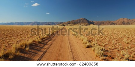 Street through Desert - stock photo