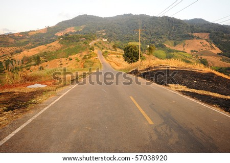 Street to north of thailand - stock photo
