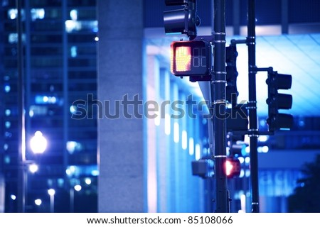Street Traffic Lights in Downtown Chicago,Illinois USA. American Midwest. Cities by Night Photo Collection.