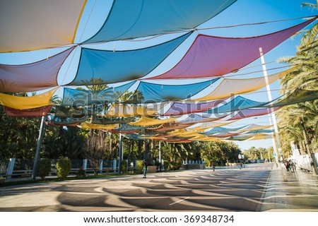 Street under a canopy in the city of Elche. Region Alicante. Spain & Street Under Canopy City Elche Region Stock Photo 369348734 ...