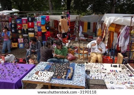 Street Vendors in San Cristobal de las Casas, Chiapas - stock photo