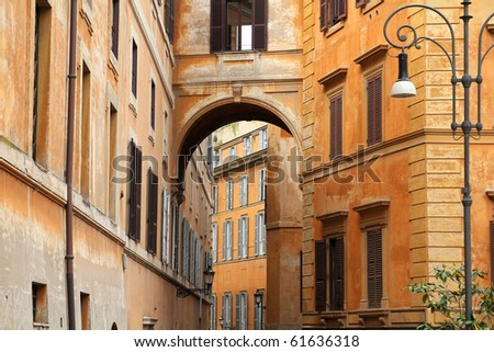Street view and Mediterranean architecture in Rome, Italy - stock photo