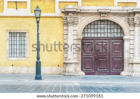 Street view at Buda palace in Budapest, Hungary. - stock photo