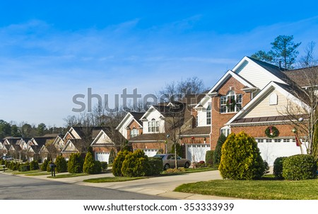 Street view at winter in southern US - stock photo