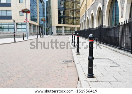 Street View in a the Central Business District of a Typical English City - stock photo