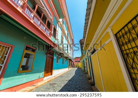 Street view in historic Las Penas neighborhood in Guayaquil, Ecuador - stock photo